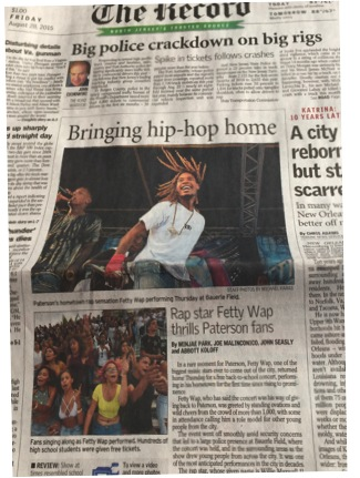 Fetty Wap free hometown concert gains front page for area newspaper The Record