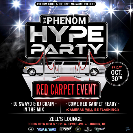 Phenom Radio, The Hype Magazine and the *1000 Network event flyer (October 30, 2015)