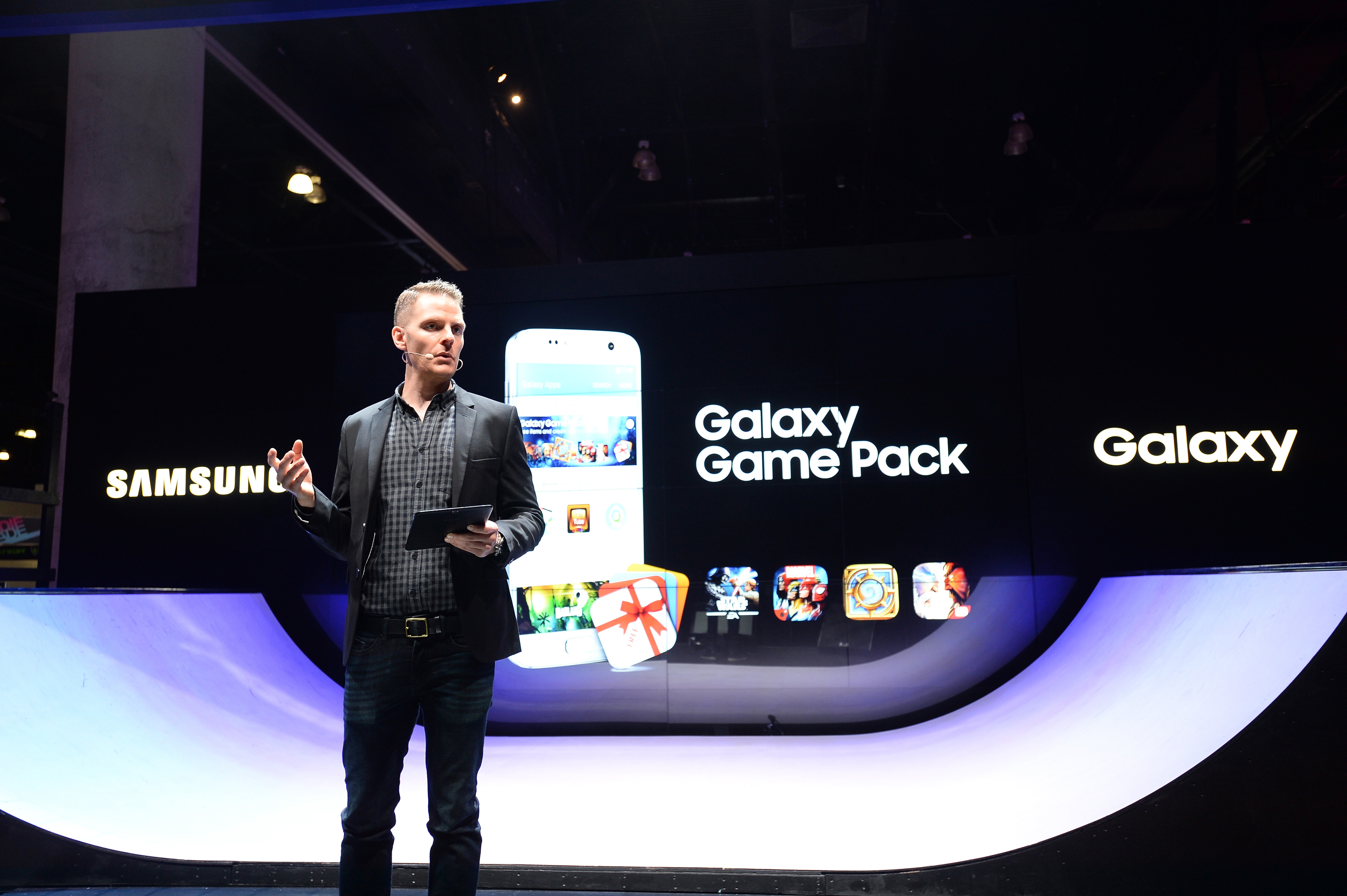 LOS ANGELES, CA - JUNE 14: Director of Immersive Products and VR at Samsung Electronics America, Jim Willson speaks onstage at the Samsung booth at E3 Expo 2016 on June 14, 2016 in Los Angeles, California. (Photo by Charley Gallay/Getty Images for Samsung)