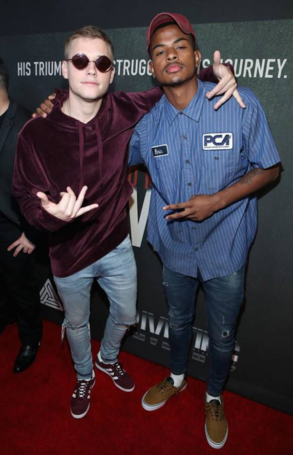 "Musical artists Cal Scruby and pal Trevor Jackson, who came to the event together, pose for a quick photo on the carpet the Premiere of Riveting Entertainment's ""Chris Brown: Welcome To My Life"" at L.A. LIVE (Photo by Jonathan Leibson 