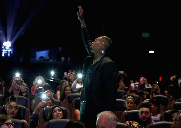 "Chris Brown thanking everyone for all the support and attending the Premiere of his movie, Riveting Entertainment's ""Chris Brown: Welcome To My Life"" at L.A. LIVE (Photo by Jonathan Leibson 