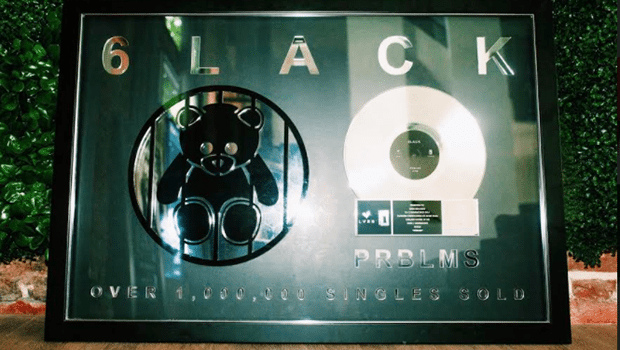 """6LACK was presented an award plaque for over 1 million records sold for song, """"PRBLMS"""""""