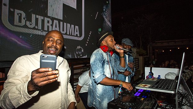 Rawlings surprised attendees by joining the rooftop party and was sure to snap it up with Chappelle and Trauma on stage, catching Trauma live in action doing what he does best-get the crowd moving.