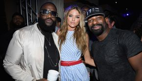 MIAMI BEACH, FL - DECEMBER 08: DJ Irie, Martha Hunt and Rick Ross attend the Maxim December Miami Issue Party Presented by blu on December 8, 2017 in Miami Beach, Florida. (Photo by Dimitrios Kambouris/Getty Images for Maxim)