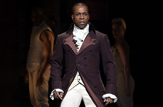 """NEW YORK, NY - FEBRUARY 15: Actor Leslie Odom, Jr. performs on stage during """"Hamilton"""" GRAMMY performance for The 58th GRAMMY Awards at Richard Rodgers Theater on February 15, 2016 in New York City. (Photo by Theo Wargo/WireImage)"""
