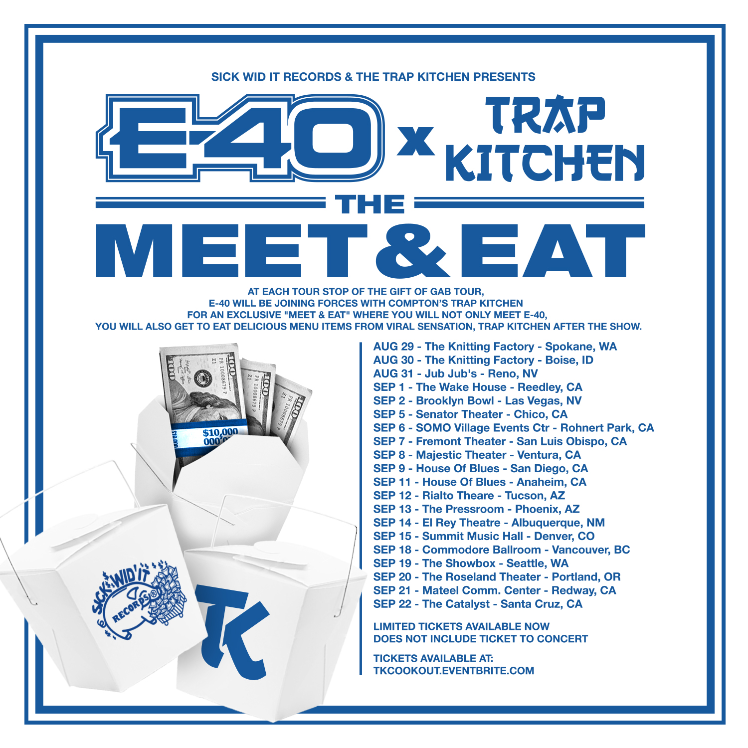 Trap kitchen cookout tour x e 40 trap kitchen meet eat the hip hops hottest chefs trap kitchen hook up with the legend e 40 for a unique meet eat tour experience as part of the upcoming gift of gab tour m4hsunfo