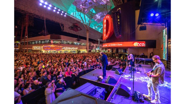 Eddie Money performs during Downtown Rocks on Fremont Street Experience, 7.21.18 (Photo Credit: Black Raven Films)