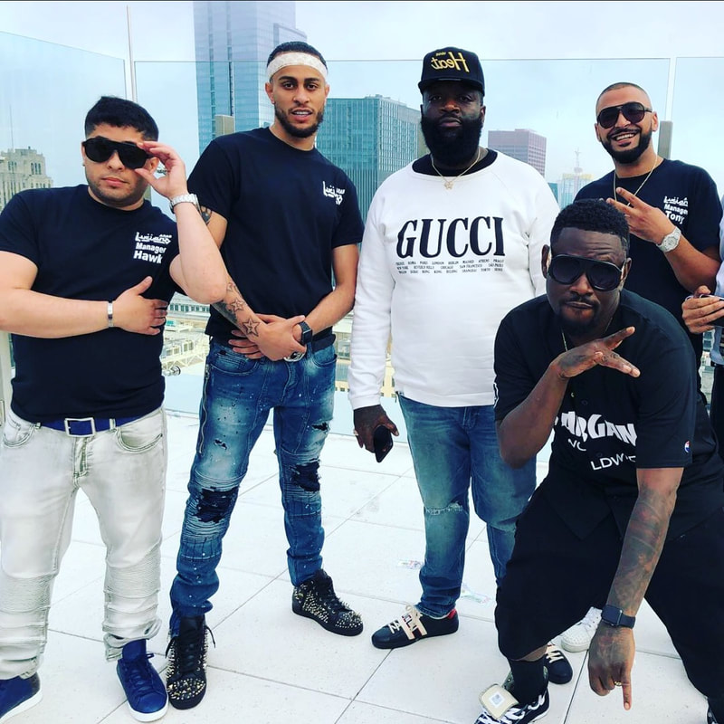 """On Set: Ayman Baker, Arabb Luciano, Rick Ross and Tamer Refaie during """"Don't Understand"""" video shoot in Chicago, IL"""