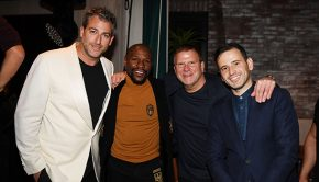 LAS VEGAS, NV - OCTOBER 26: Mark Birnbaum, Floyd Mayweather, Tilman Fertitta and Eugene Remm attend CATCH Las Vegas opening weekend dinner at ARIA Resort & Casino on October 26, 2018 in Las Vegas, Nevada. (Photo by Denise Truscello/Getty Images for CATCH Las Vegas)