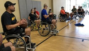 Wounded Warrior Project exposes veterans to adaptive sports to help them gain confidence and knowledge of whatís available. Warriors had the opportunity to try soccer, football, softball, and basketball ñ all in wheelchairs. Many are encouraged to continue participating in adaptive sports.