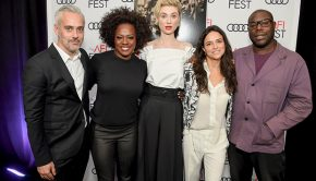 "LOS ANGELES, CA - NOVEMBER 14: (L-R) Iain Canning, Viola Davis, Elizabeth Debicki, Michelle Rodriguez, and Steve McQueen attend the gala screening of ""Widows"" during AFI FEST 2018 at the TCL Chinese Theatre on November 14, 2018 in Los Angeles, California. (Photo by Michael Kovac/Getty Images for AFI)"