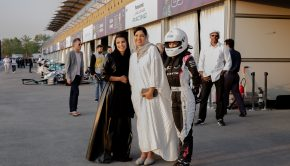 Reem Al-Aboud (right) with HRH Princess Reema Bint Bandar Al Saud, the deputy of development and planning for the General Sports Authority (center) during the Ad Diriyah E-Prix in Riyadh (Photo Courtesy CIC)