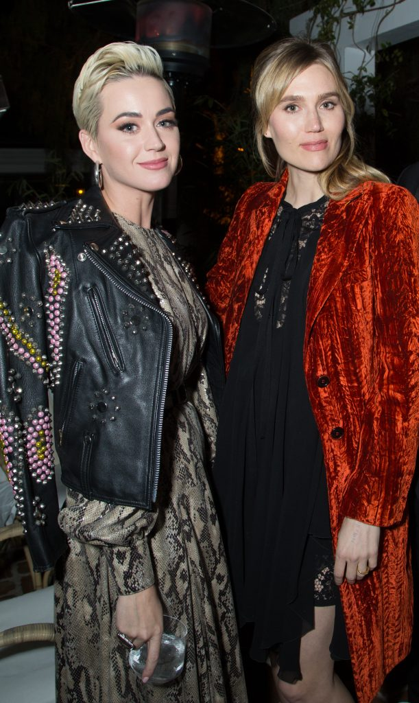 Katy Perry and friend attend the CAA Pre-Oscar Party on Friday, February 22, 2019 in at the San Vicente Bungalows in West Hollywood, California. (Photo: Benjamin Shmikler/ABImages)