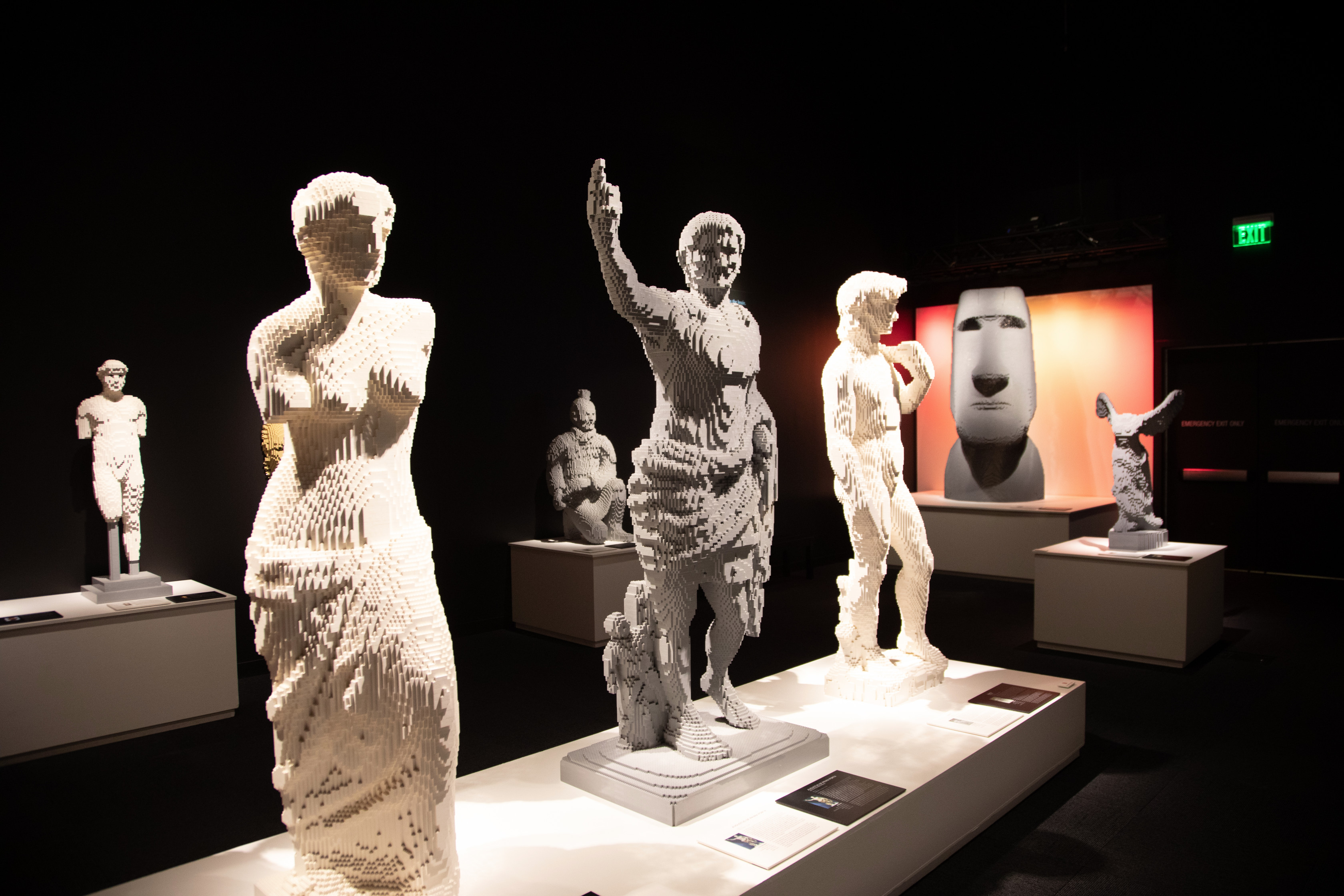 Alexandros of Antioch's Venus de Milo, Augustus of Prima Porta, and Michelangelo's David take center stage in the art history gallery of The Art of the Brick traveling exhibition (PHOTO CREDIT: JerSean Golatt/Perot Museum of Nature and Science)