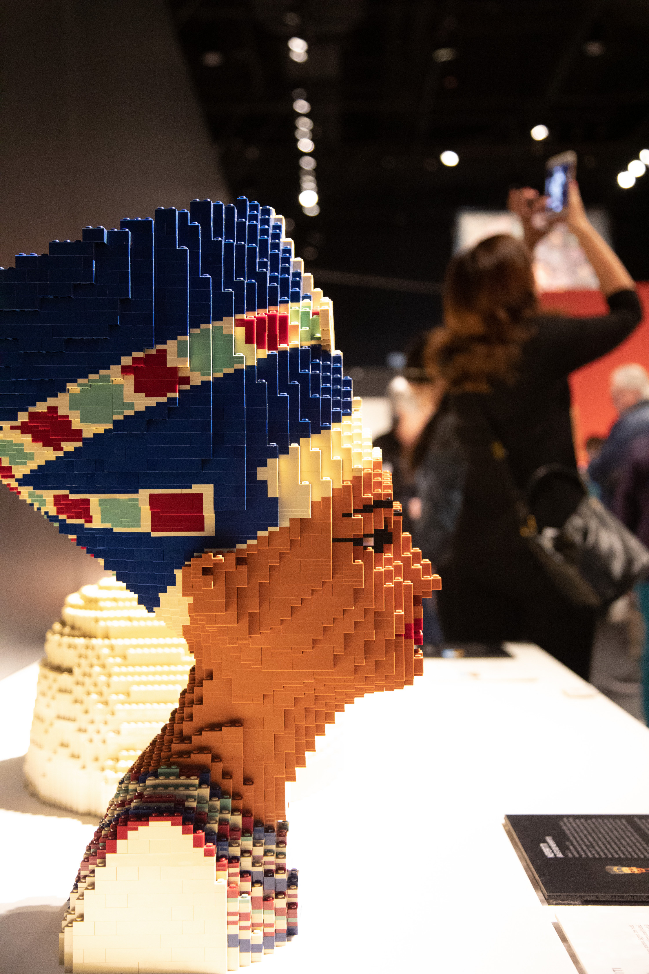 Nefertiti sculpture is one of many recreated art masterpieces featured in The Art of the Brick traveling exhibition (PHOTO CREDIT: JerSean Golatt/Perot Museum of Nature and Science)