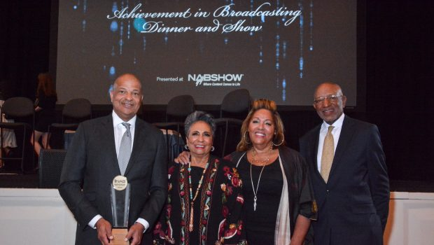 Alfred Liggins, Ms. Hughes, Marcella and Terry Jones at NAB (Photo Credit: Joe Durkin, Content Courtesy of Urban One)