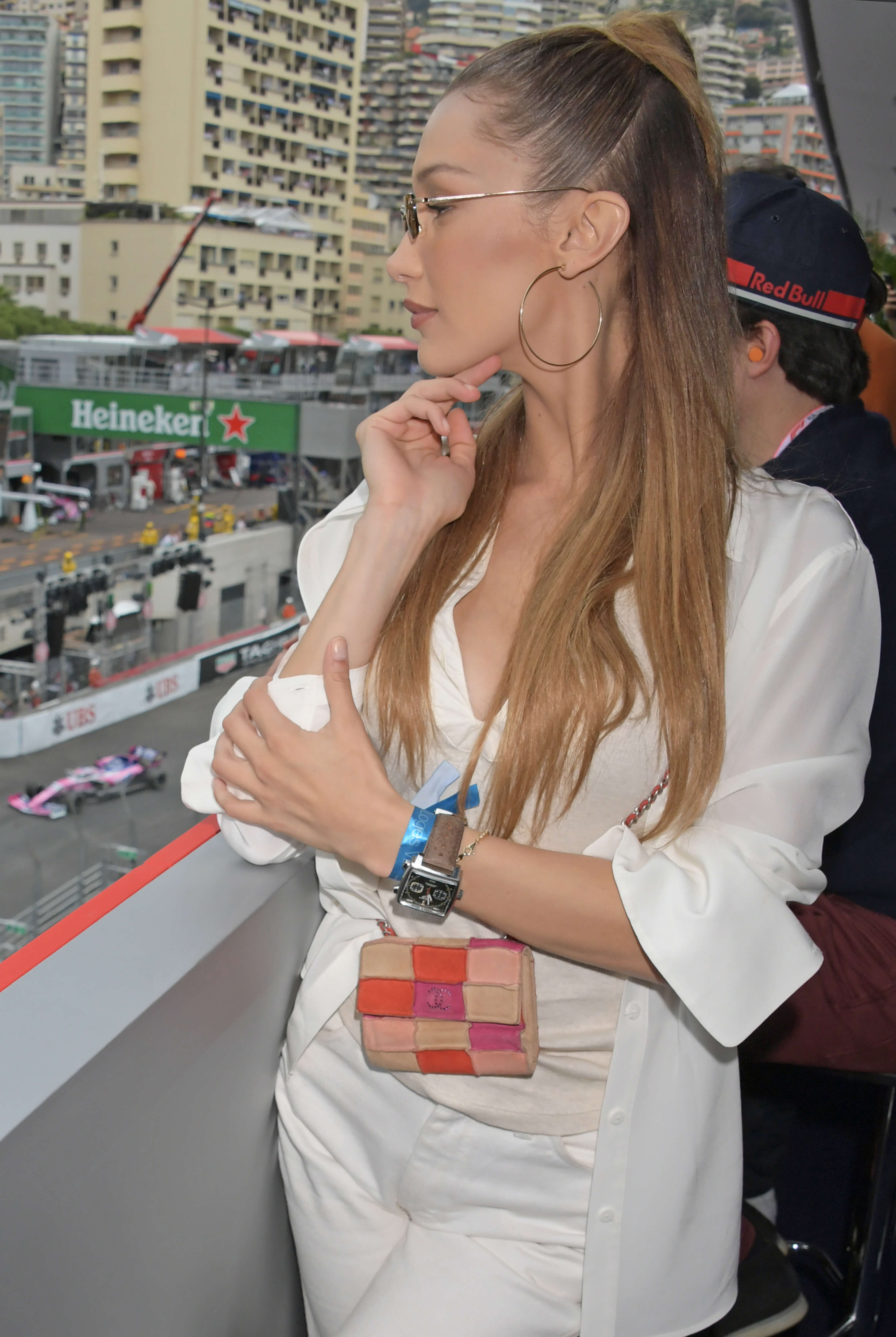 MONACO - MAY 26: Bella Hadid celebrates 50 Years of the Monaco Watch at the Formula 1 Grand Prix De Monaco, the legendary event that gave the watch its name in 1969, on May 26, 2019 in Monaco. (Photo by David M. Benett/Dave Benett/Getty Images for TAG Heuer)