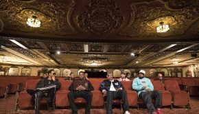 (L-R): RZA, GZA, Inspectah Deck and Ghostface Killah in WU-TANG CLAN: OF MICS AND MEN. Photo Credit: Sue Kwon/courtesy of SHOWTIME.