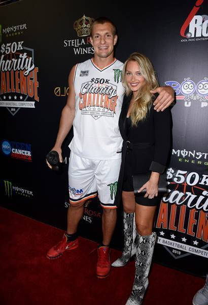 Rob Gronkowski and Camille Kostek Attend the Monster Energy $50K Charity Challenge Celebrity Basketball Game