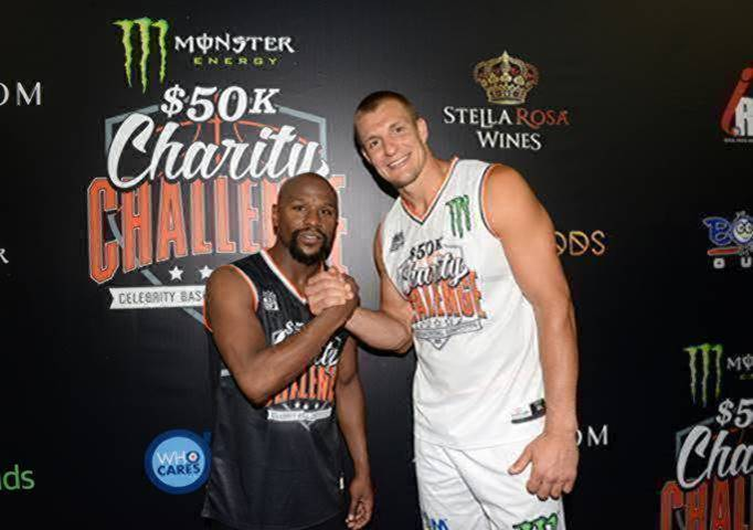 Floyd Mayweather and Rob Gronkowski attend the Monster Energy $50K Charity Challenge Celebrity Basketball Game