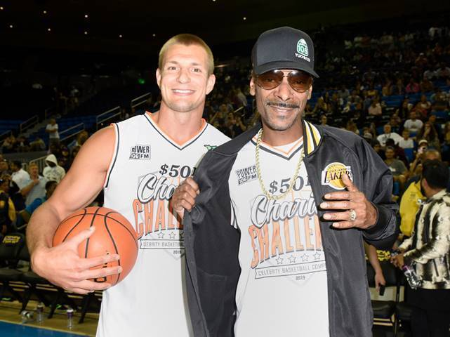 Rob Gronkowski and Snoop Dogg attend the Monster Energy $50K Charity Challenge Celebrity Basketball Game