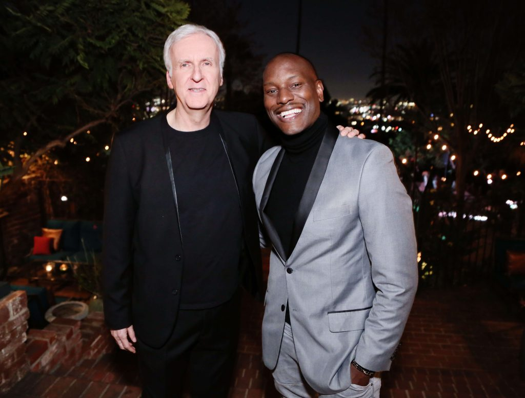 LOS ANGELES, CALIFORNIA - FEBRUARY 06: (L-R) Director James Cameron and Tyrese Gibson attend Red Carpet Green Dress at the Private Residence of Jonas Tahlin, CEO of Absolut Elyx on February 06, 2020 in Los Angeles, California. (Photo by Gabriel Olsen/Getty Images for Absolut Elyx)