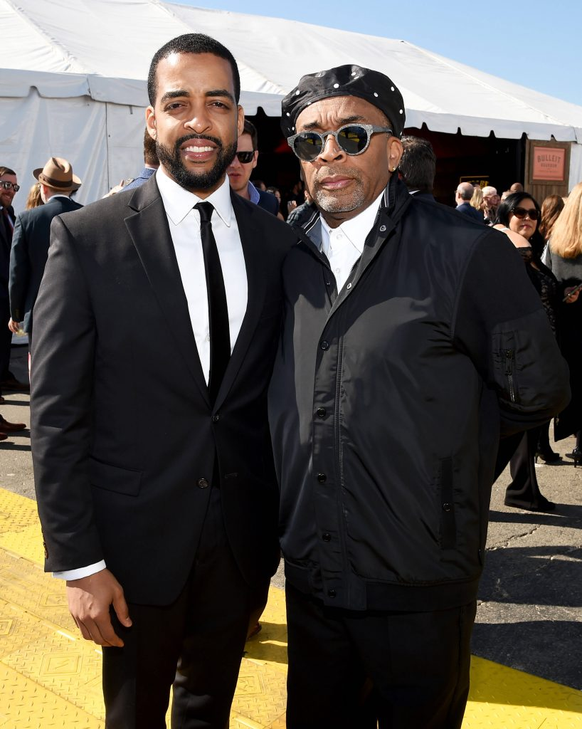 Rashaad Ernesto Green and Spike Lee outside the Bulleit Frontier Whiskey Arcade Lounge at the 2020 Film Independent Spirit Awards on February 08, 2020 in Santa Monica, California.